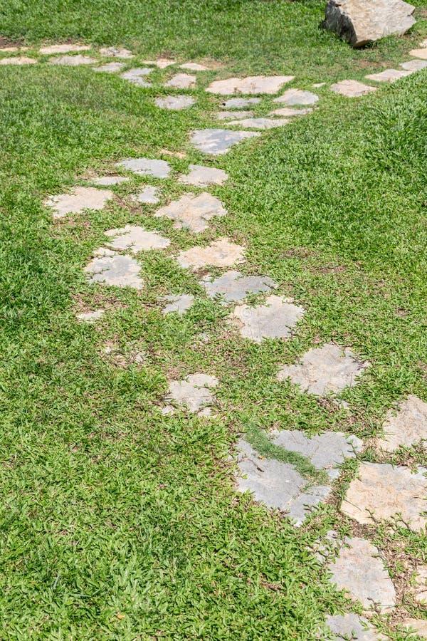 Passaggio pedonale dell'erba e della pietra immagine stock