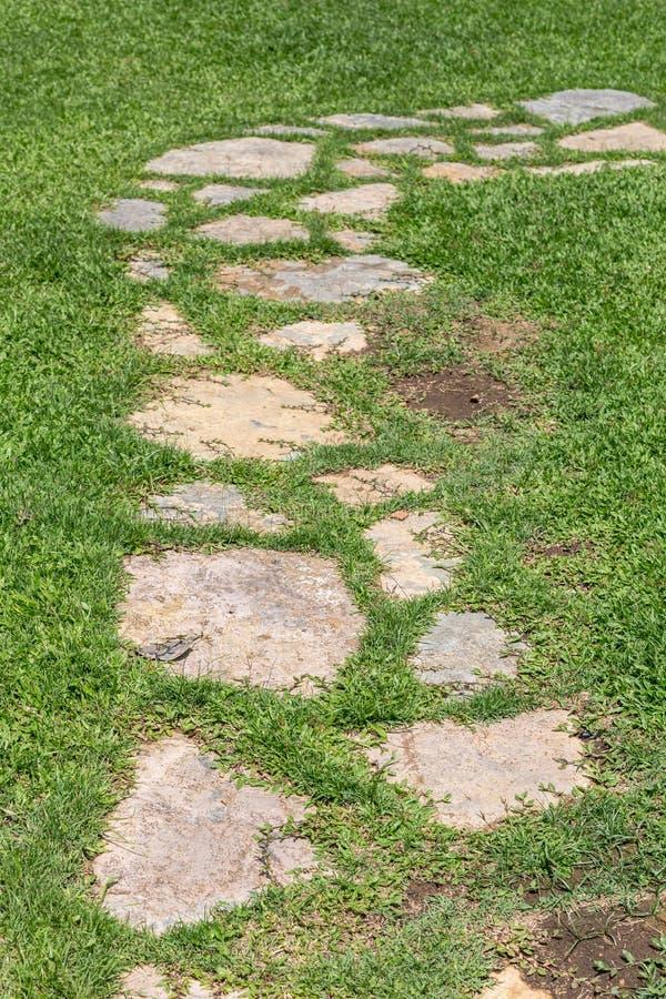 Passaggio pedonale dell'erba e della pietra immagini stock