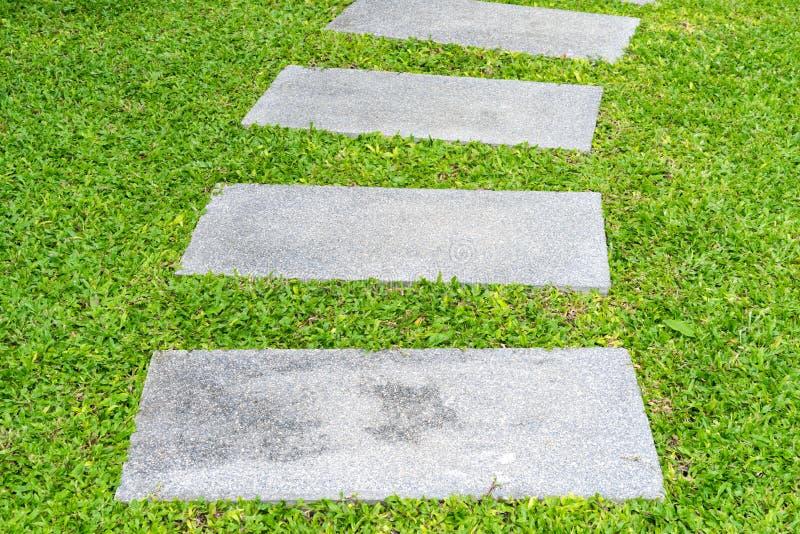Passaggio pedonale della roccia dell'iarda anteriore fra le erbe immagini stock libere da diritti