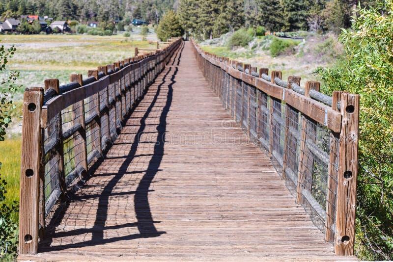 Passaggio pedonale di legno sopra il letto di lago secco fotografia stock