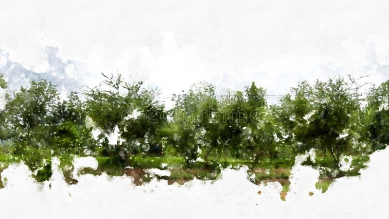 Passaggio pedonale e via variopinti astratti sulla pittura dell'illustrazione dell'acquerello illustrazione vettoriale