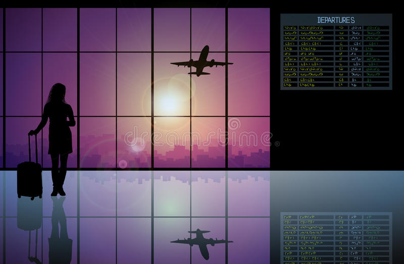 passagier die met bagage voorbij een vlucht lopen royalty-vrije illustratie