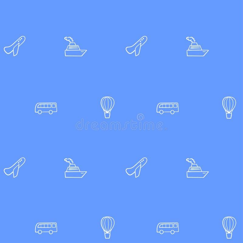 Passagier en vrachtvervoer - pictogrammen Naadloos patroon met vectorafbeeldingen royalty-vrije illustratie