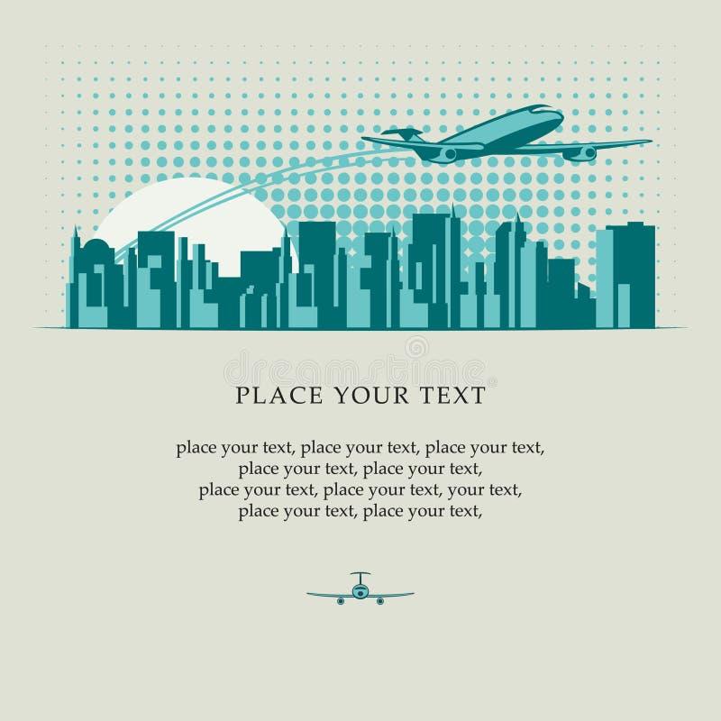 Passagierflugzeug über Stadt lizenzfreie abbildung