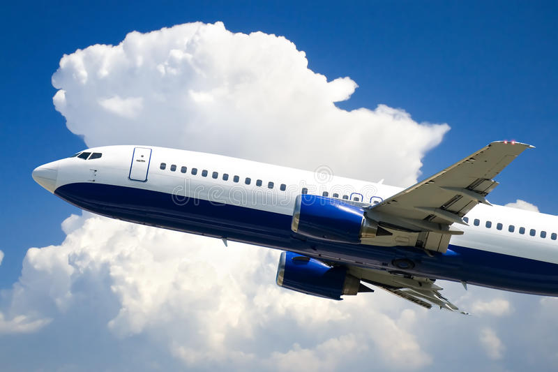 Passagierflugzeugflugzeug stockfoto