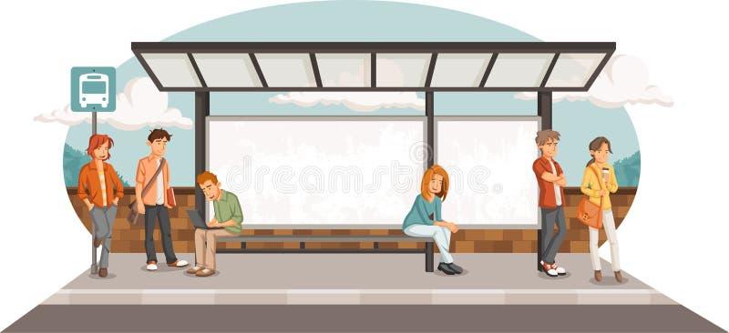 Passagiers bij bushalte royalty-vrije illustratie