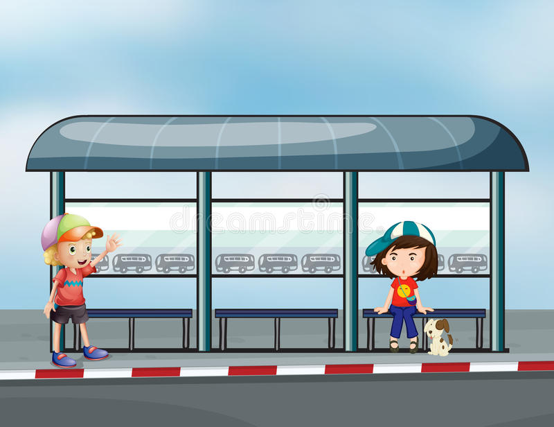 Passagiers bij de wachtenloods royalty-vrije illustratie