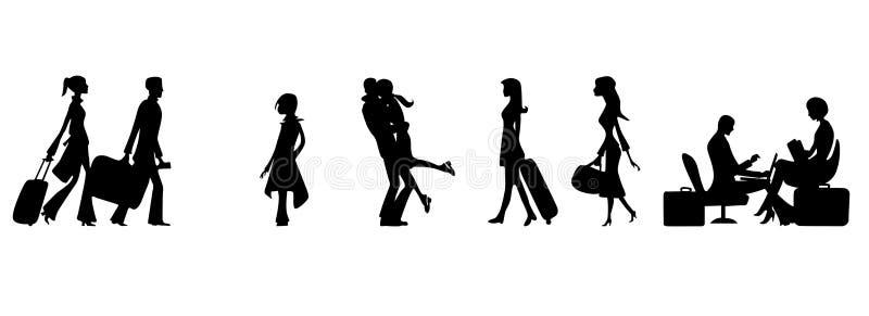 Passagiers in de luchthaven stock illustratie
