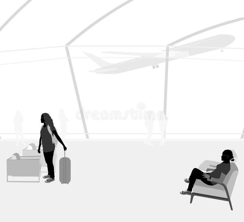 Passagiers in de Luchthavenscène royalty-vrije illustratie