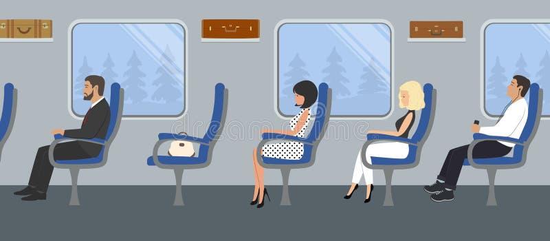 Passagiers in de treinauto stock illustratie