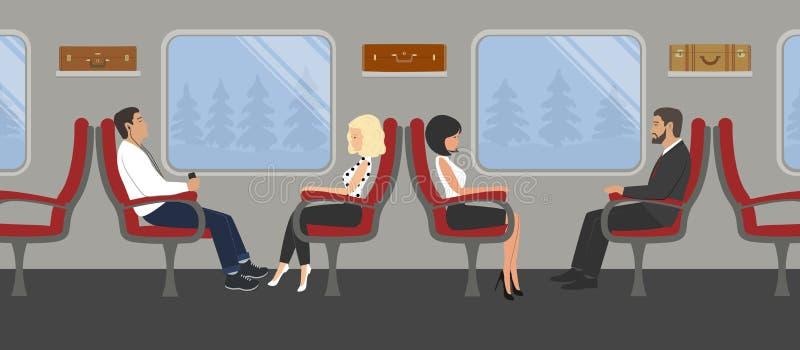 Passagiers in de treinauto De jonge vrouwen en de mannen zitten in rode leunstoelen en kijken uit het venster stock illustratie
