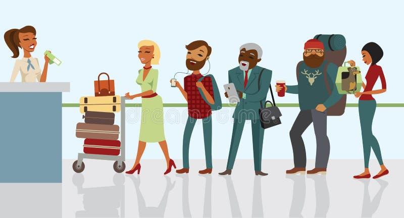 Passagiers die zich bij luchthaven wachten in te schrijven vector illustratie
