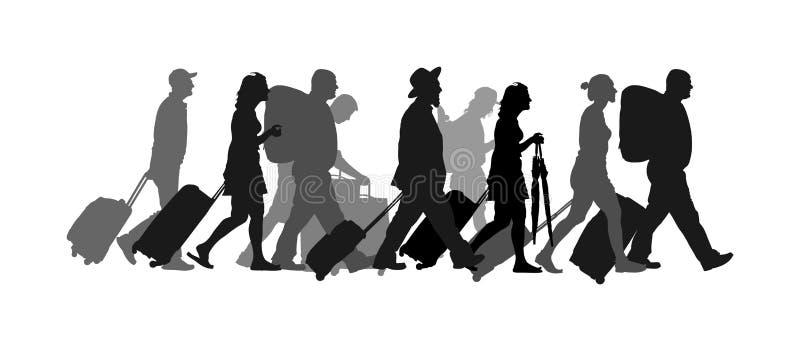 Passagiers met bagage het lopen luchthaven vectorsilhouet De reizigers met vele zakken gaan naar huis stock illustratie
