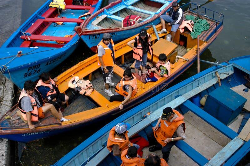 Passagiers op de boten royalty-vrije stock foto