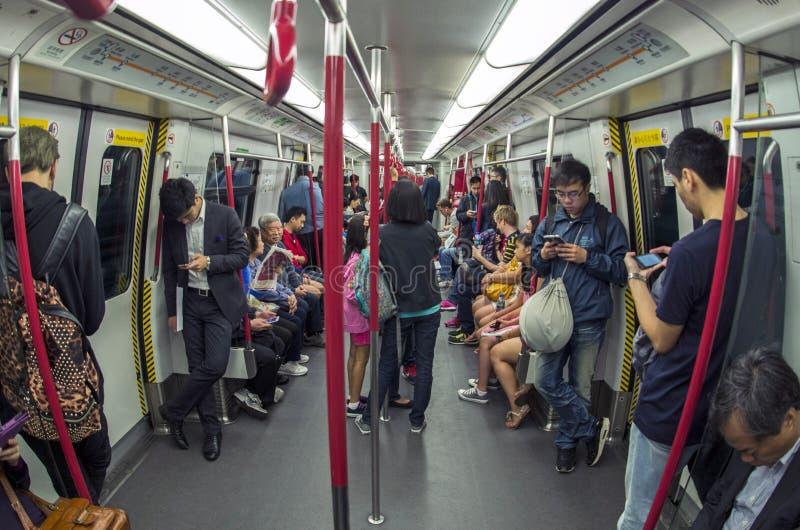 Passagiers op metro stock fotografie