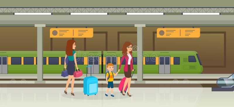 Passagiers op platform die van peron, op klassieke trein wachten royalty-vrije illustratie