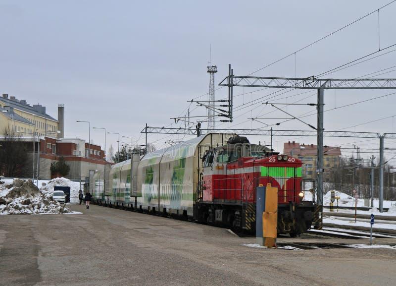 Passagierstrein bij de centrale post van Rovaniemi royalty-vrije stock afbeelding