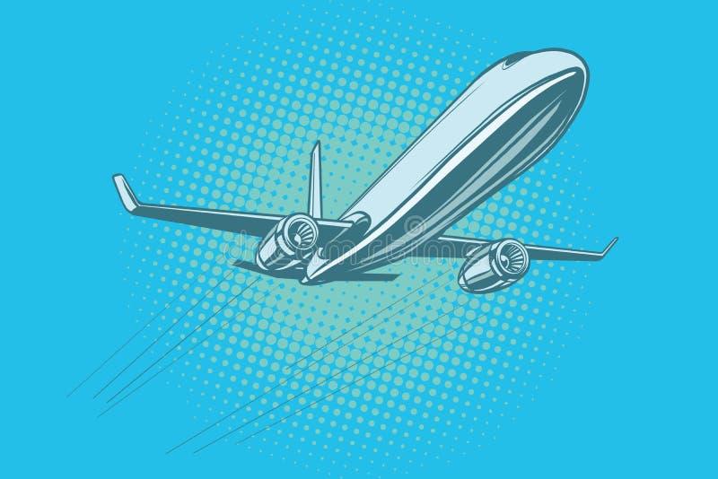 Passagiersvliegtuig in de hemel vector illustratie