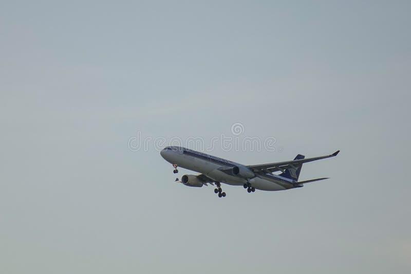 Passagiersvliegtuig die in de lucht vliegen stock afbeeldingen