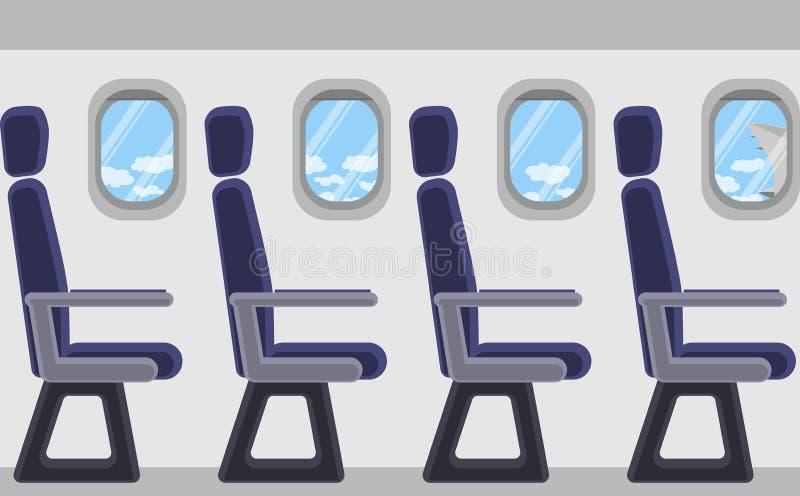 Passagiersvliegtuig van de binnenkant Patrijspoorten, zetels Mening van wolken en blauwe hemel royalty-vrije illustratie