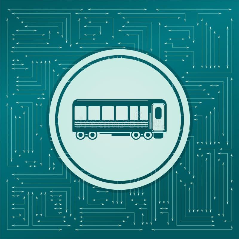 Passagierswagens Treinpictogram op een groene achtergrond, met pijlen in verschillende richtingen Het lijkt de elektronische raad royalty-vrije illustratie