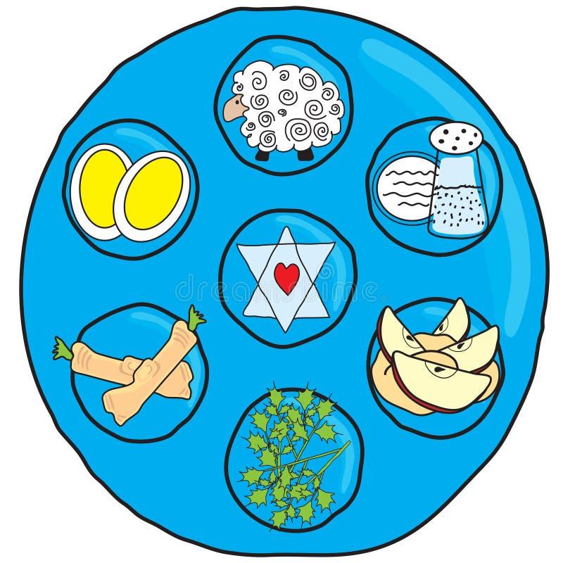Passahfest Seder Platte vektor abbildung