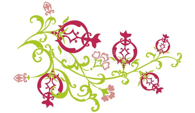 passande pomegranate för filialöst stock illustrationer