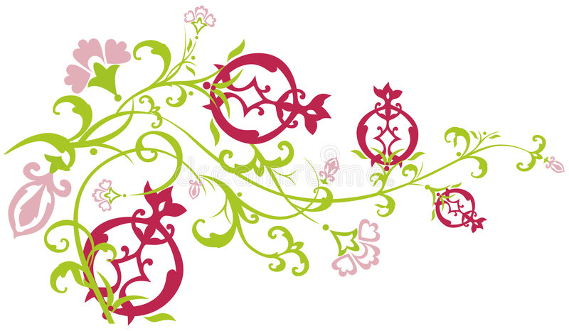 passande pomegranate för filialöst vektor illustrationer
