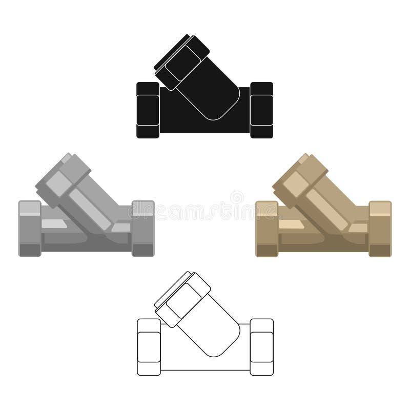 Passande symbol för utslagsplatsrörmokeri i tecknad filmstil som isoleras på vit bakgrund Vektor för materiel för symbol för vatt stock illustrationer