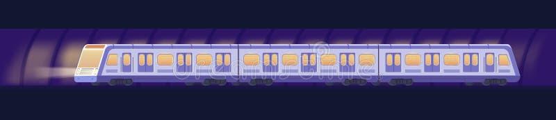 Passanger现代电高速火车 在隧道的铁路地铁或地铁运输 地下火车传染媒介 库存例证
