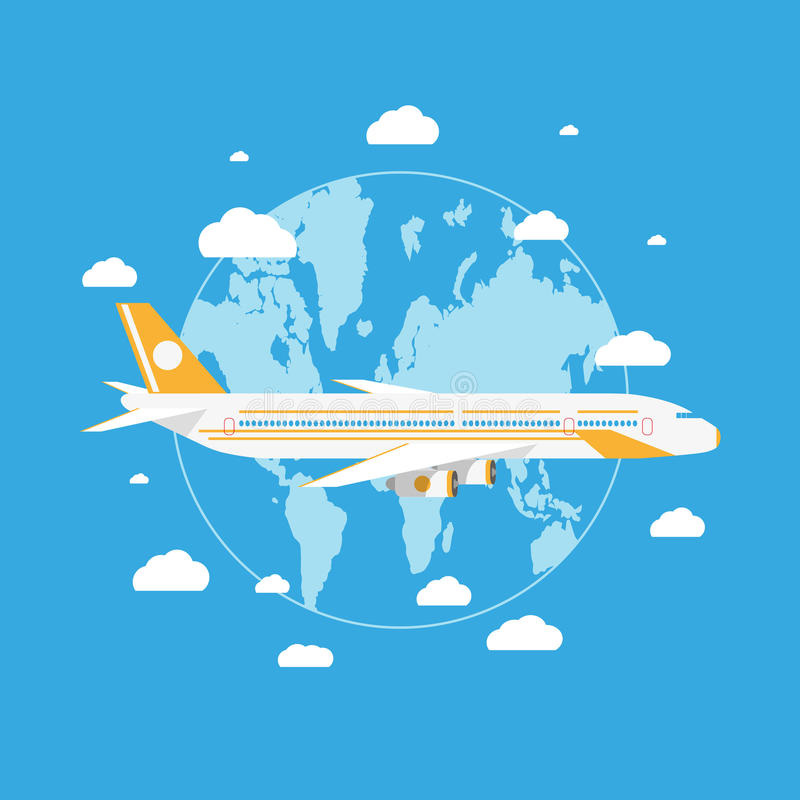 Passanger airplane flying above planet earth royalty free illustration