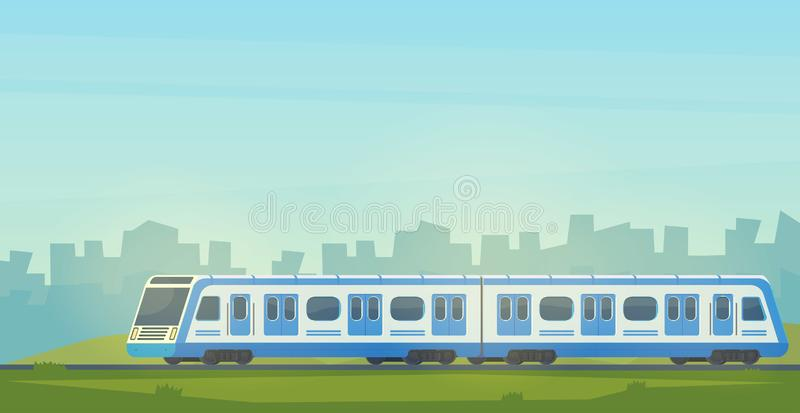 Passanger modern electric high-speed train with city landscape. Railway transport. Travel by train. vector illustration