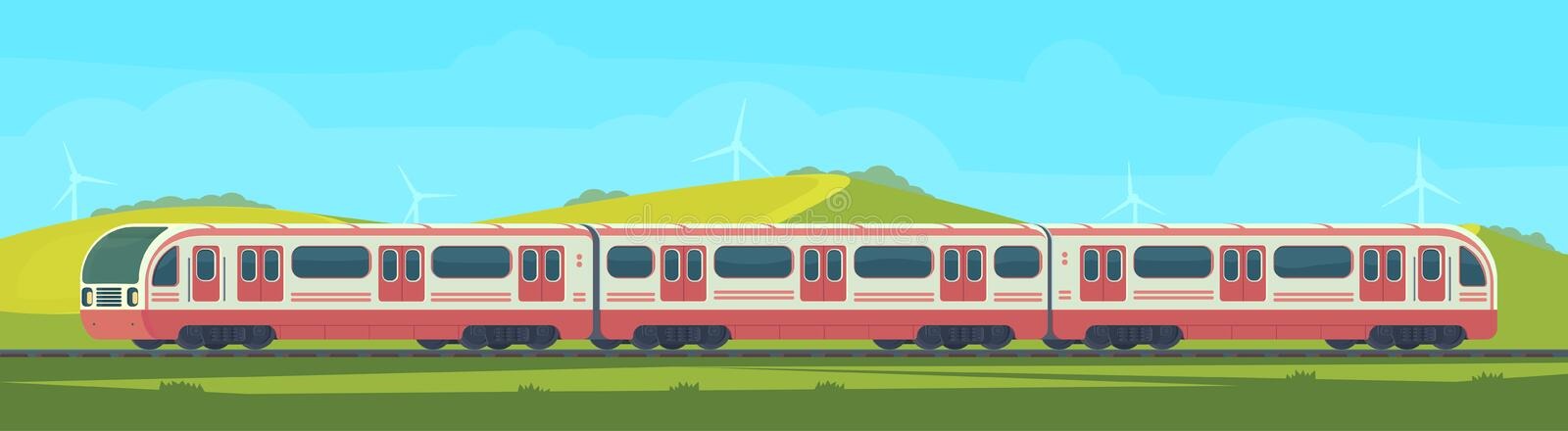 Passanger modern electric high-speed train with nature landscape in a hilly area. vector illustration