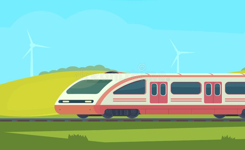 Passanger modern electric high-speed train with nature landscape in a hilly area. Railway transport. Travel by train royalty free illustration