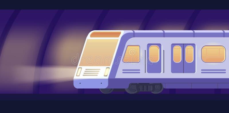 Passanger modern electric high-speed train. Railway subway or metro transport in tunnel. Underground train Vector vector illustration