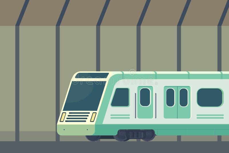Passanger modern electric high-speed train. Railway subway or metro transport in tunnel. Underground train Vector stock illustration