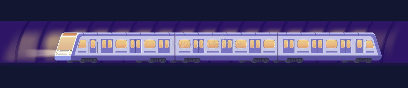 Passanger modern electric high-speed train. Railway subway or metro transport in tunnel. Underground train Vector. Passanger modern electric high-speed train stock illustration