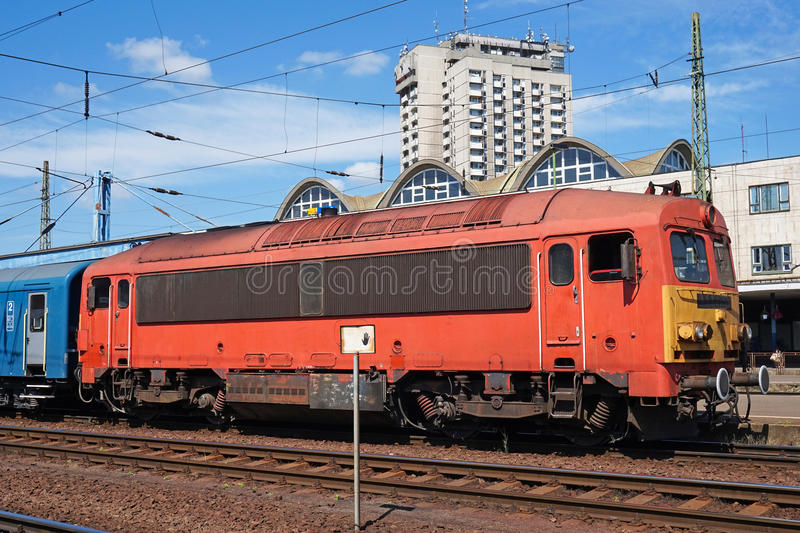 Passanger train at the railway station royalty free stock photo