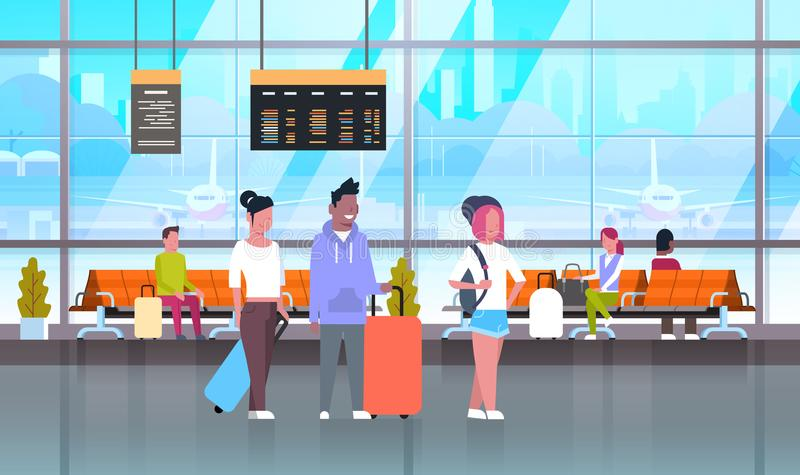 Passangers In Airport With Baggage At Waiting Hall Or Departure Lounge. Flat Vector Illustration royalty free illustration