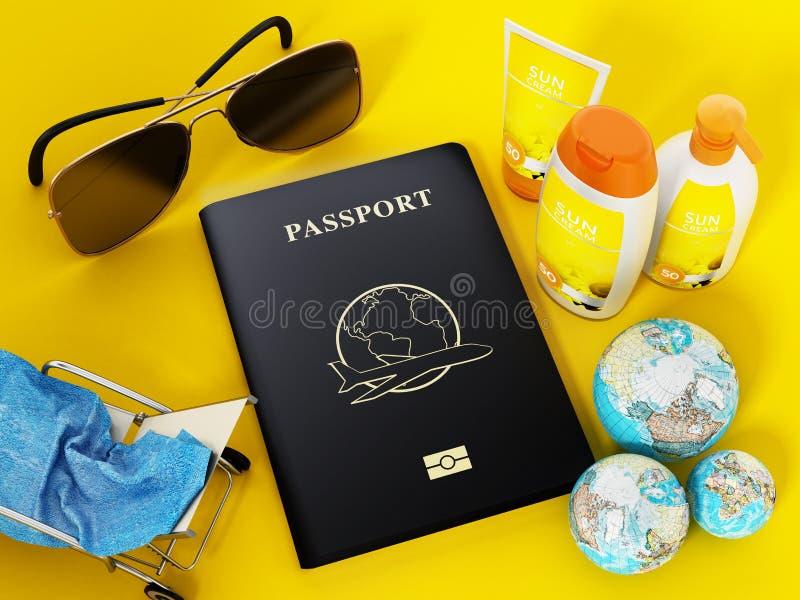 Passaporte, óculos de sol, sunbed, creme do sol, globos e toalha ilustra??o 3D ilustração royalty free