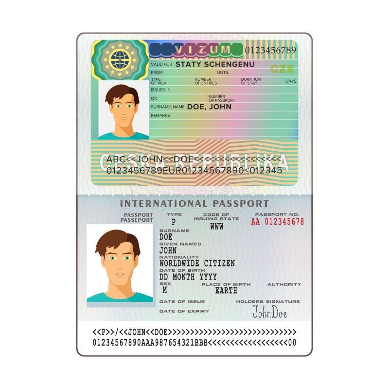 Passaporte aberto do international do vetor com visto de República Checa ilustração stock