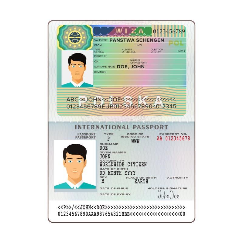 Passaporte aberto internacional do vetor com visto do Polônia imagens de stock