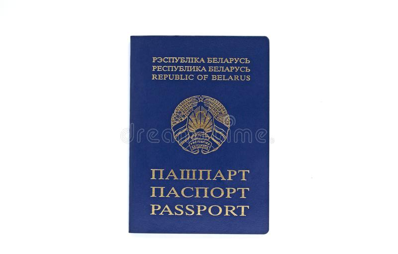 Passaporte Belorussian em um fundo branco Isolado fotografia de stock royalty free