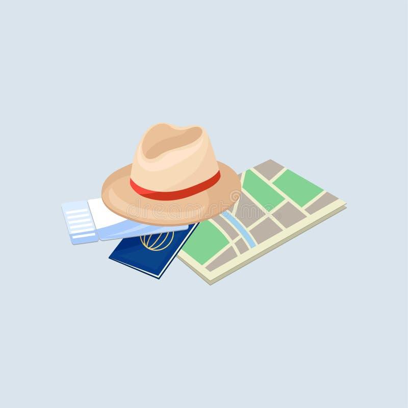 Passaporte, bilhete de papel do mapa, do chapéu e de ar Objetos das férias Tema do turismo e do curso Vetor liso para anunciar o  ilustração royalty free