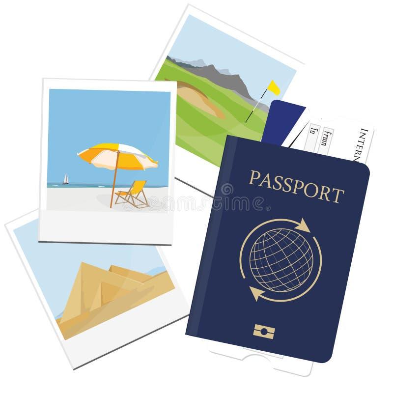 Passaporte, bilhete, imagem do polaroid ilustração do vetor