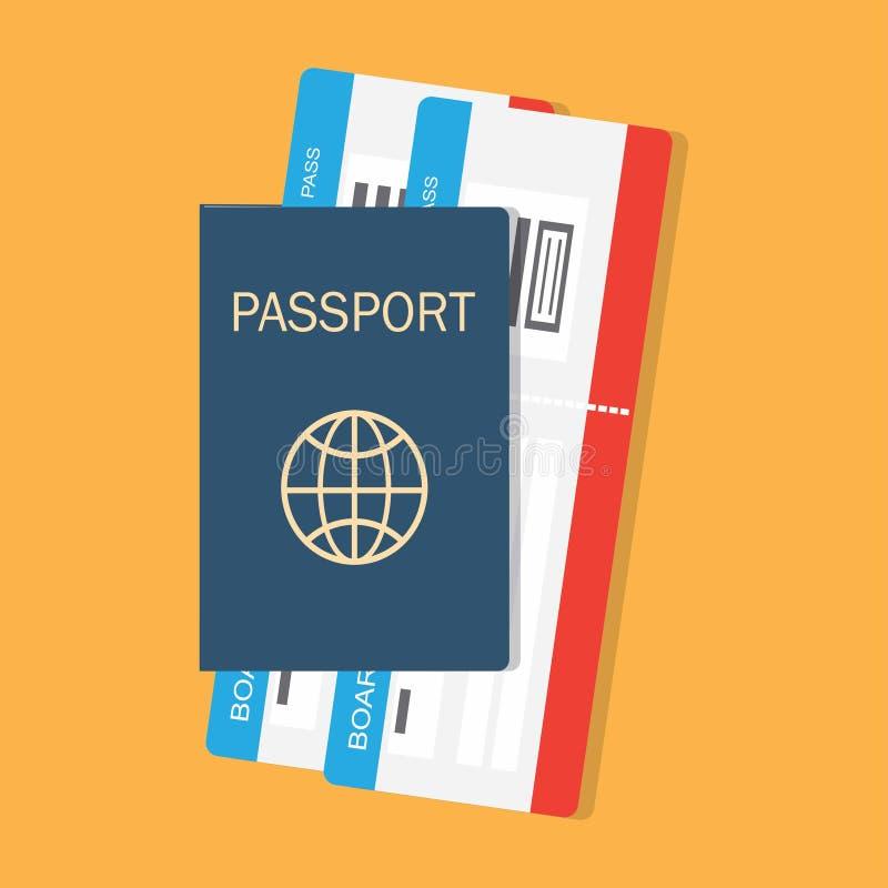 Passaporte com bilhetes ilustração stock