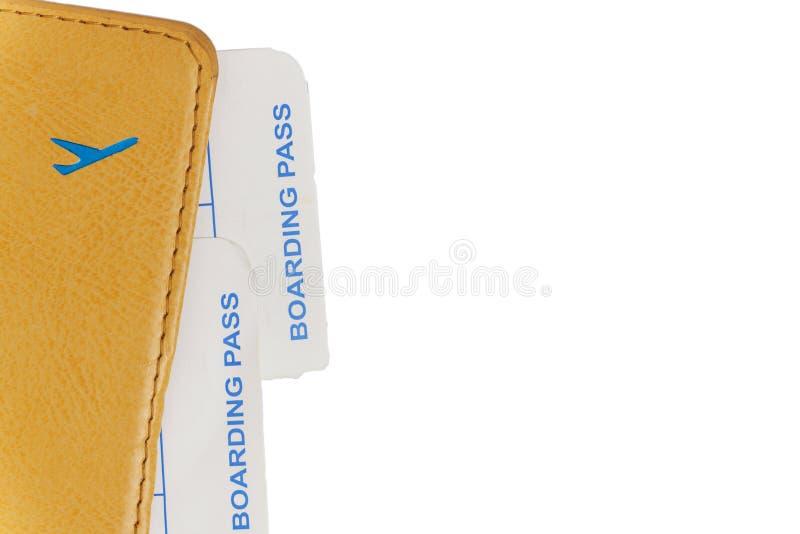 Passaporte com bilhetes planos, close-up, isolado fotografia de stock royalty free