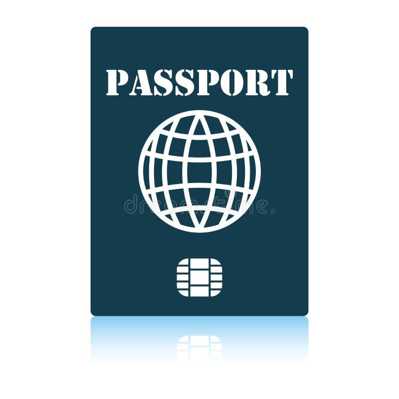 Passaporte com ?cone da microplaqueta ilustração royalty free