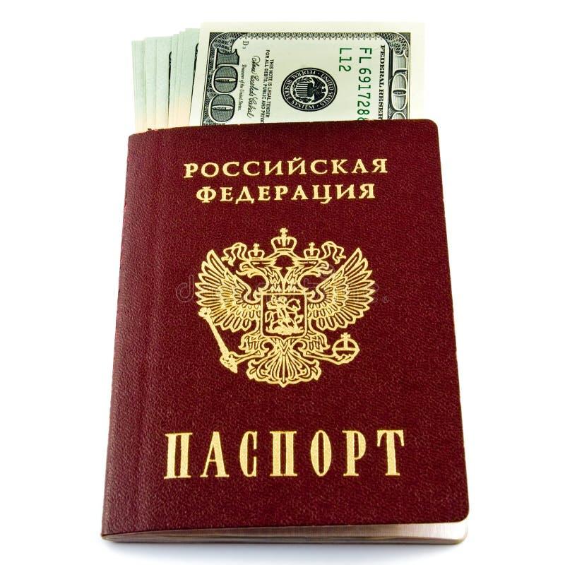 Passaporte com dinheiro foto de stock