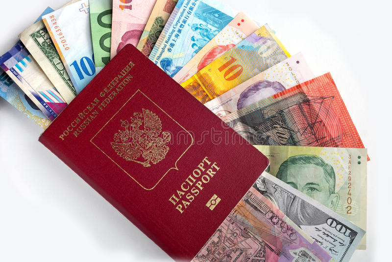 Passaporte com dong do grau do euro do dólar do dinheiro fotografia de stock royalty free